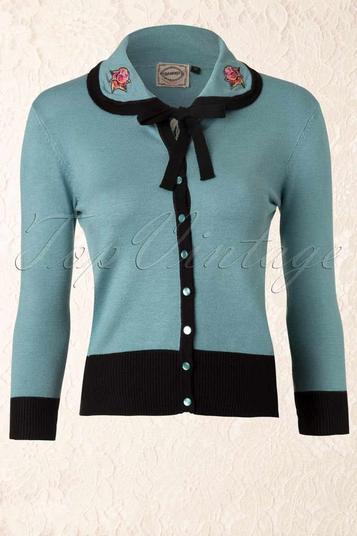 Banned - 60s Rose Collar Cardigan in Vintage Blue