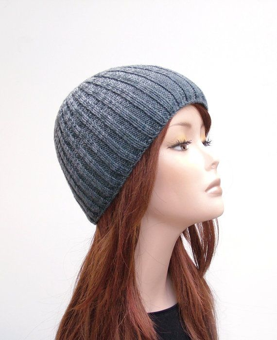 Knit Hat for women and men- ombre grey ribbed beanie hat by Rukkola on Etsy #ombrehat #knitbeaniehat #ribbedbeanie