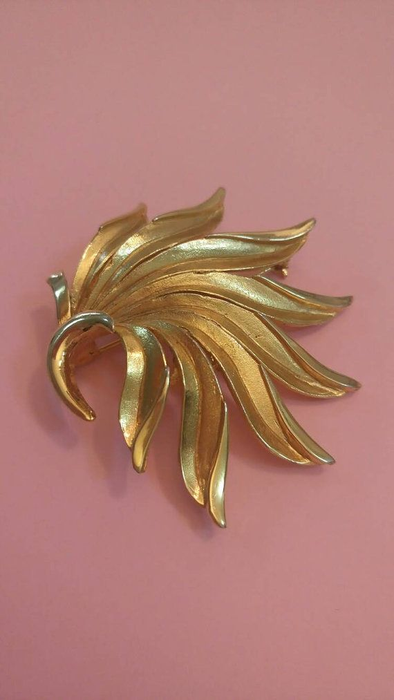 Vintage brooch gold tone leaf by Barcs signed and numbered
