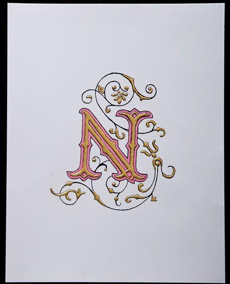 Halo Calligraphy Illuminated Initial