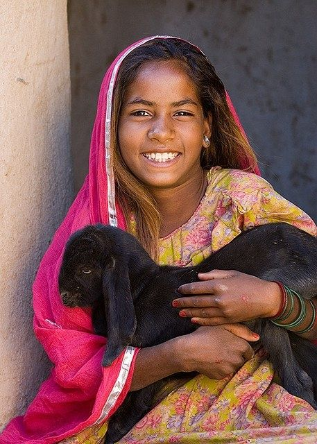 Images of India - A girl and her lamb