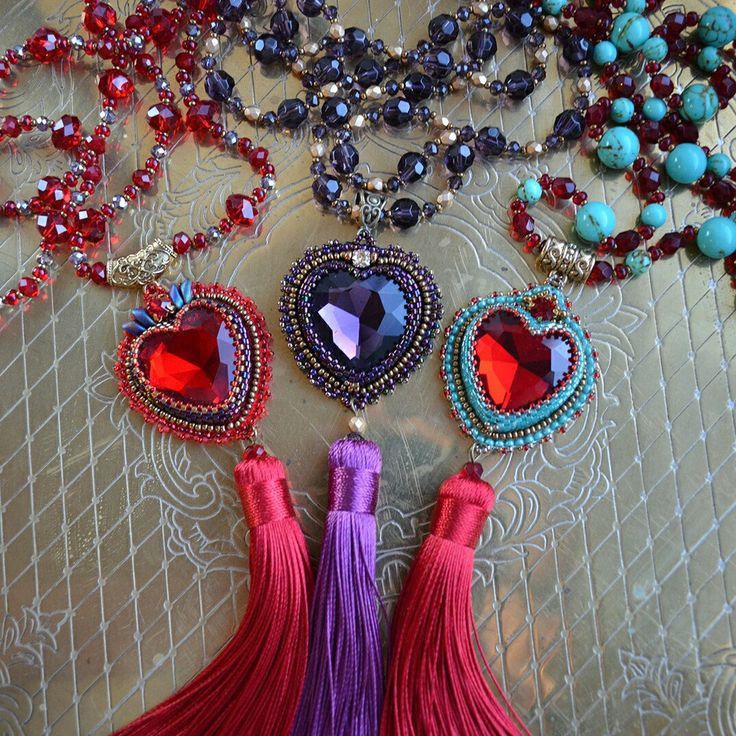Heart necklace with tassel