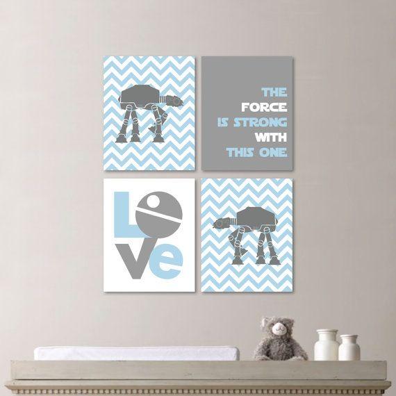 Baby Boy Nursery Art Star Wars Decor Light Blue Gray You Pick The Size