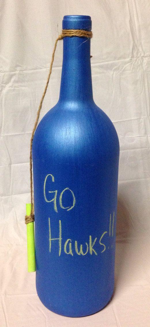 Seahawks Colored Chalkboard Wine Bottle. by RandomCraftsBySundee, $10.00