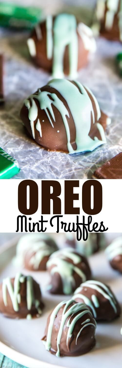 Easy no bake OREO Mint Truffles with an Andes Candies coating. The classic cookie-and-cream-cheese filling with a perfect minty finish!