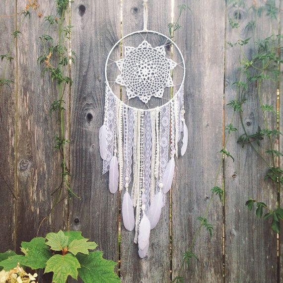 White Doily Dreamcatcher // Large Dream Catcher // Boho Decor