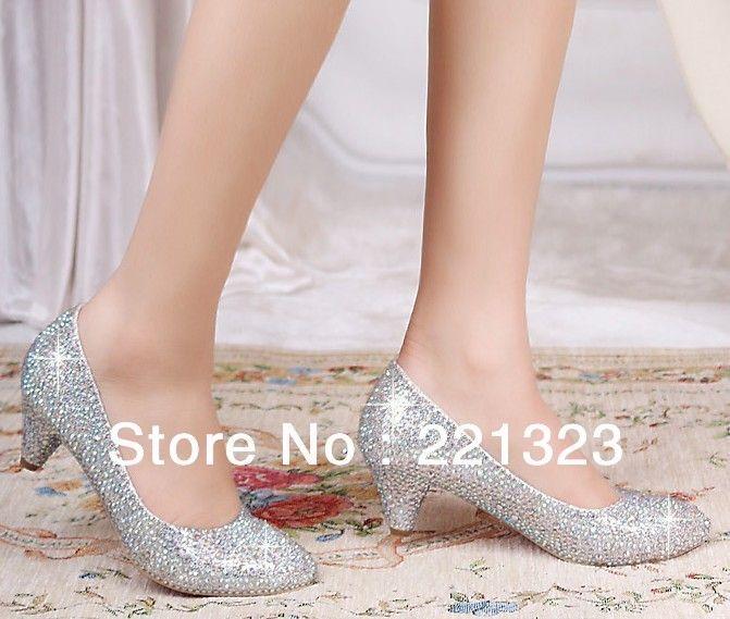 2014 New Arrival Crystal Prom Shoes Wedding Bridal Heels Silver Gold Black Rhinestone Low Pumps