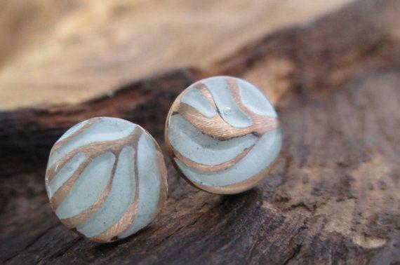 Everyday Stud Earrings Bronze Precious Metal Clay by KemeJewellery