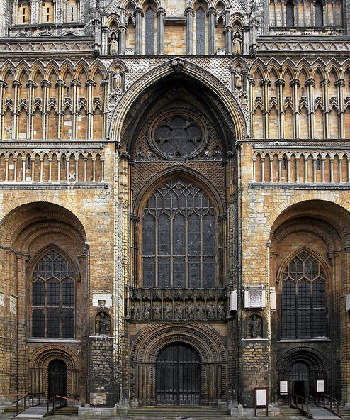 Lincoln Cathedral in Lincolnshire, England, built during the years 1185-1311. A medieval