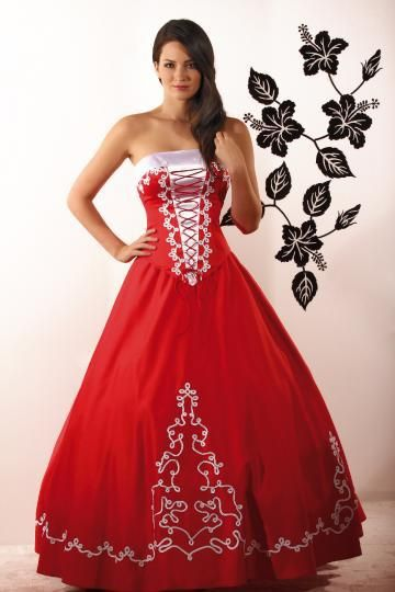 tradtional wear, Hungary, red dress with Hungarian motives