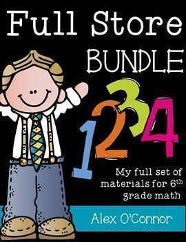 This Full Store Bundle includes ALL of my math resources for 6th grade math! Resources include enrichment problems, Brain Busters, numerous math games, and more! Most of the activities could be used in a math center or in a whole group setting. The products included focus on increasing students understanding of the number system, rates and ratios, expressions and equations, geometry, statistics, and probability.