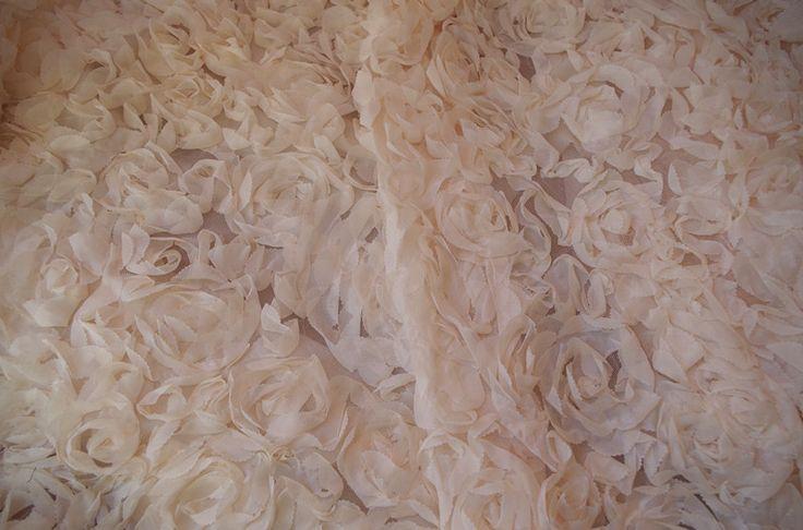 1 yard nude chiffon rosette fabric, 3D rosette blanket, wedding decors, backdrop, prop, wedding table cloth #Affiliate