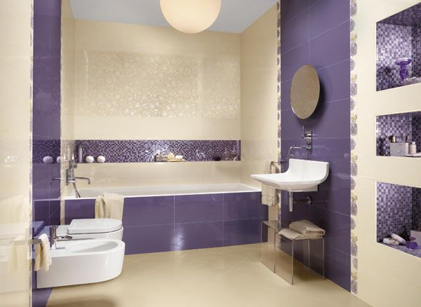 #Interiors - Purple & white again, this time in the bathroom.  My fave part of this room are the practical but pretty mosaic tiled wall niches.