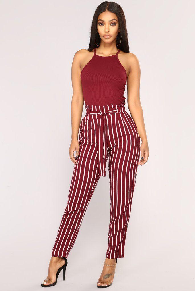 84e377a6d72 Jacklyn Stripe Pants - Burgundy White in 2019
