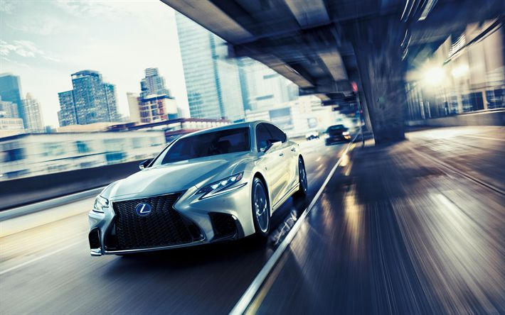 Download wallpapers 4k, Lexus LS 500 F Sport, motion blur, 2018 cars, street, new LS, Lexus