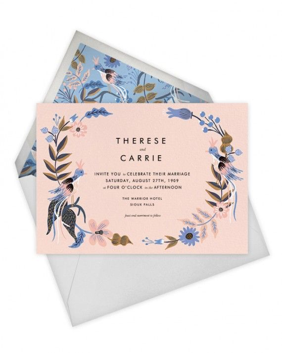 This wedding invitation suite also comes with a save the date, program, menu, personalized stationery, as well as direction and RSVP cards.See the Full Suite