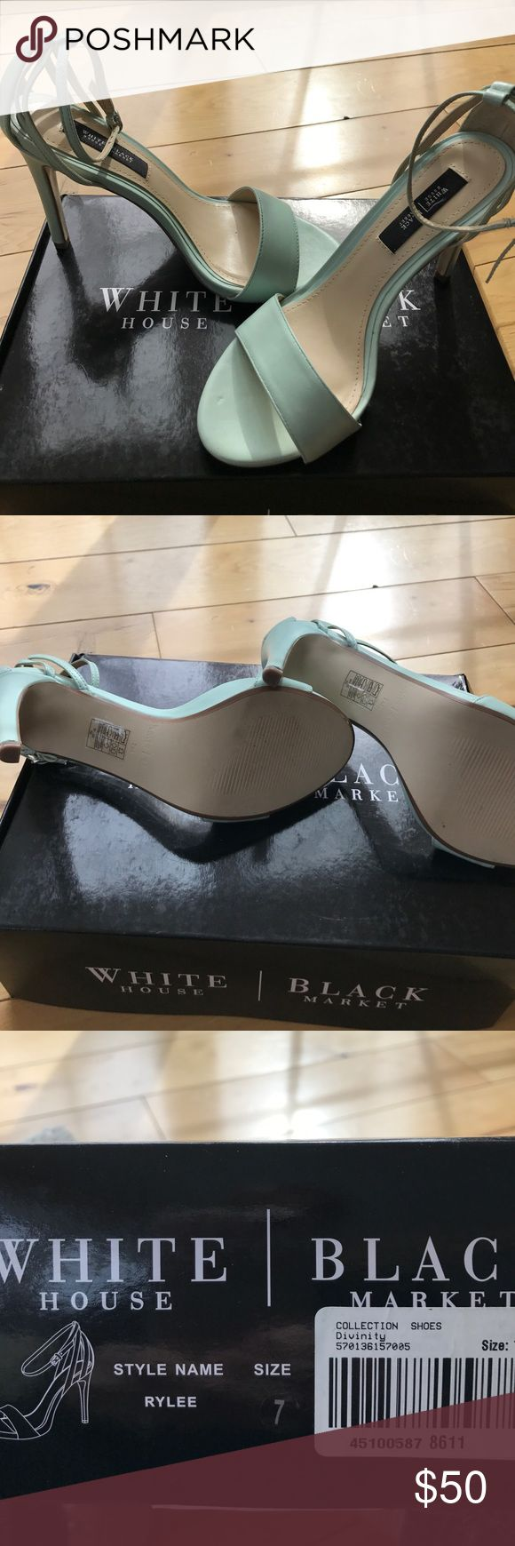 Beautiful WHBM Mint Green Strappy Heels 7 These strappy sandal heels are so pretty!  A beautiful mint green color just perfect for those summer dresses!  They are brand new and will come in their original box with dust covers. White House Black Market Shoes Heels