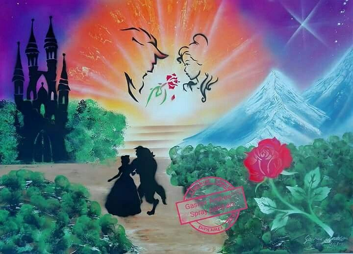 #Beauty and the #beast #spray paint art