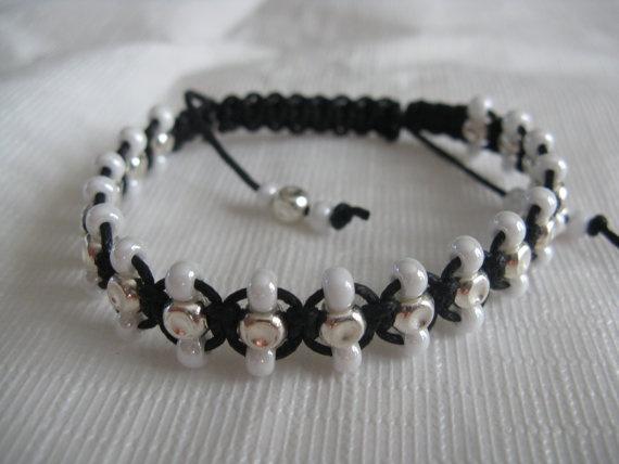 White and silver Shamballa bracelet