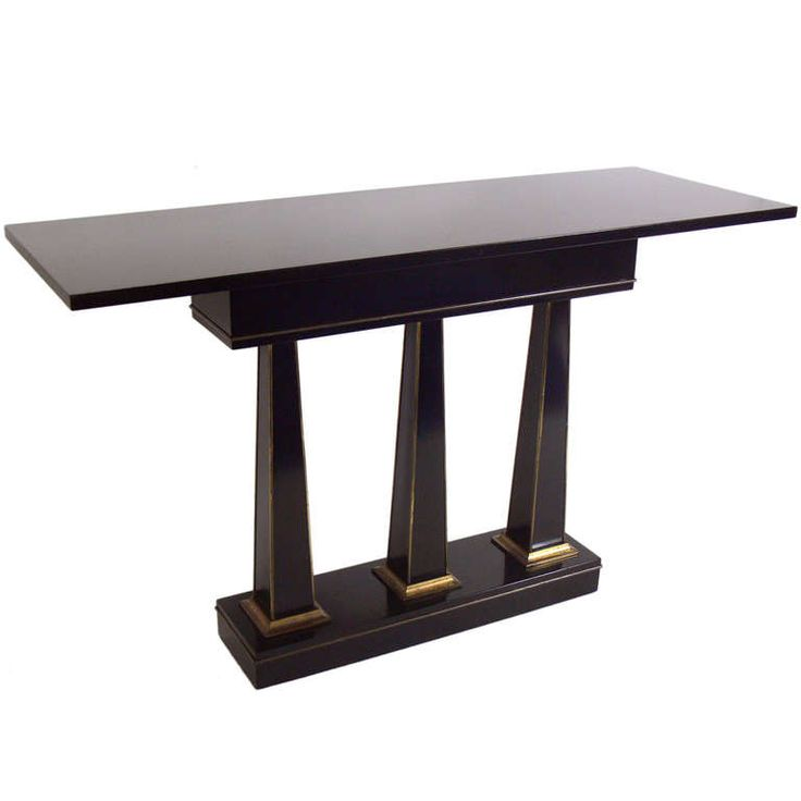 Neoclassical Black Lacquer Console Table Manner Of Maison Jansen | 1stdibs.com