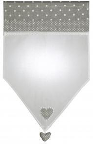 Brise bise en coton et voile blanc. 45 x 70 Gris perle. Face à poser. Dim. 45 x 70 cm.