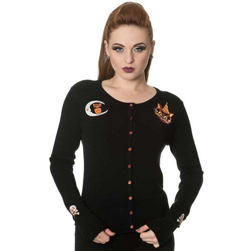 The Haunted gebreide cardigan met geborduurde uil en kat zwart - Gothic Metal Halloween - S - Banned