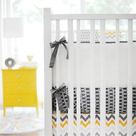 @rosenberryrooms is offering $20 OFF your purchase! Share the news and save!  Mellow Yellow White Crib Bumper #rosenberryrooms