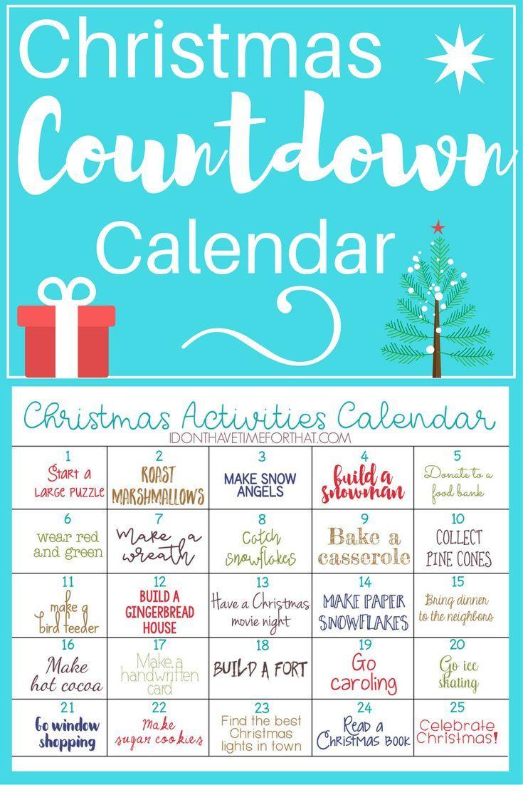 Christmas Activities Countdown Calendar Christmas Activities Christmas Countdown Calendar Countdown Calendar