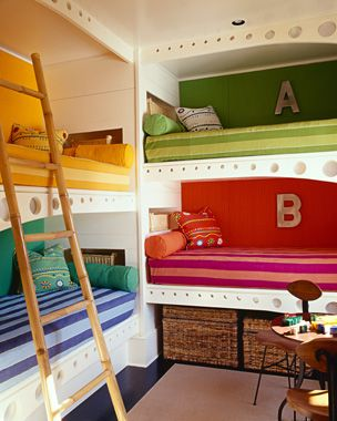 Four in one room? Built-in, stacked bunk beds in perpendicular configuration give everyone their own unique sleeping alcove yet leave floor space open for activities. Also great for sleep-overs!