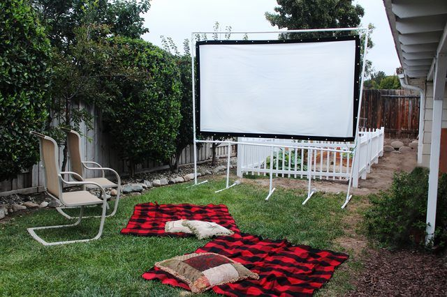 Using screen material and some PVC pipe you can create your own backyard movie screen to entertain everyone.