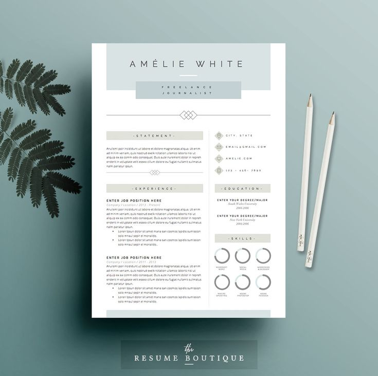 Resume Template 4 pages CV Template Cover par TheResumeBoutique