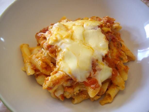 Baked Ziti from Cooks Illustrated, I can not begin to explain how amazing this Ziti is....lick your spoon and slap your mama good!!!