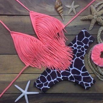 Modaling Bikini con Flecos para Mujer-Rosa