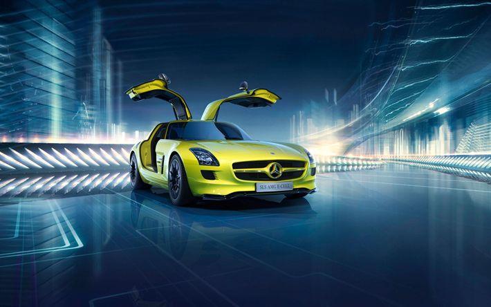 壁紙をダウンロードする メルセデス-ベンツSLS AMG E-Cell, 2017車, 電気自動車, C197, 黄色の粉末造形, メルセデス