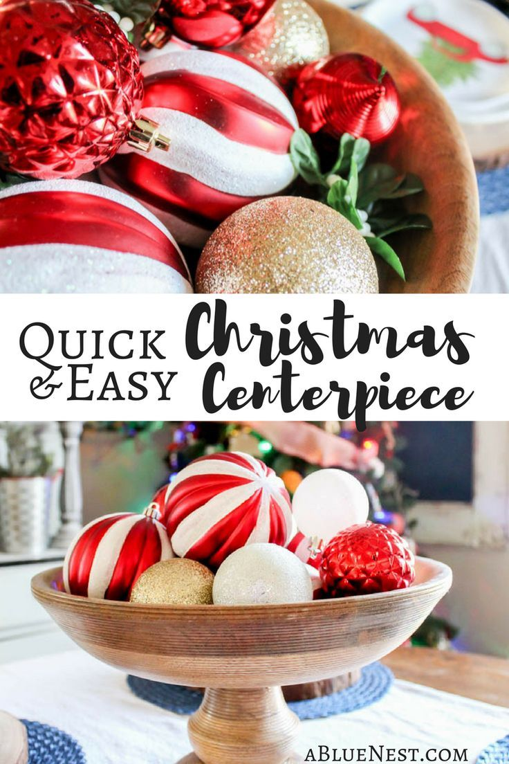 Quick and easy Christmas centerpiece - www.abluenest.com