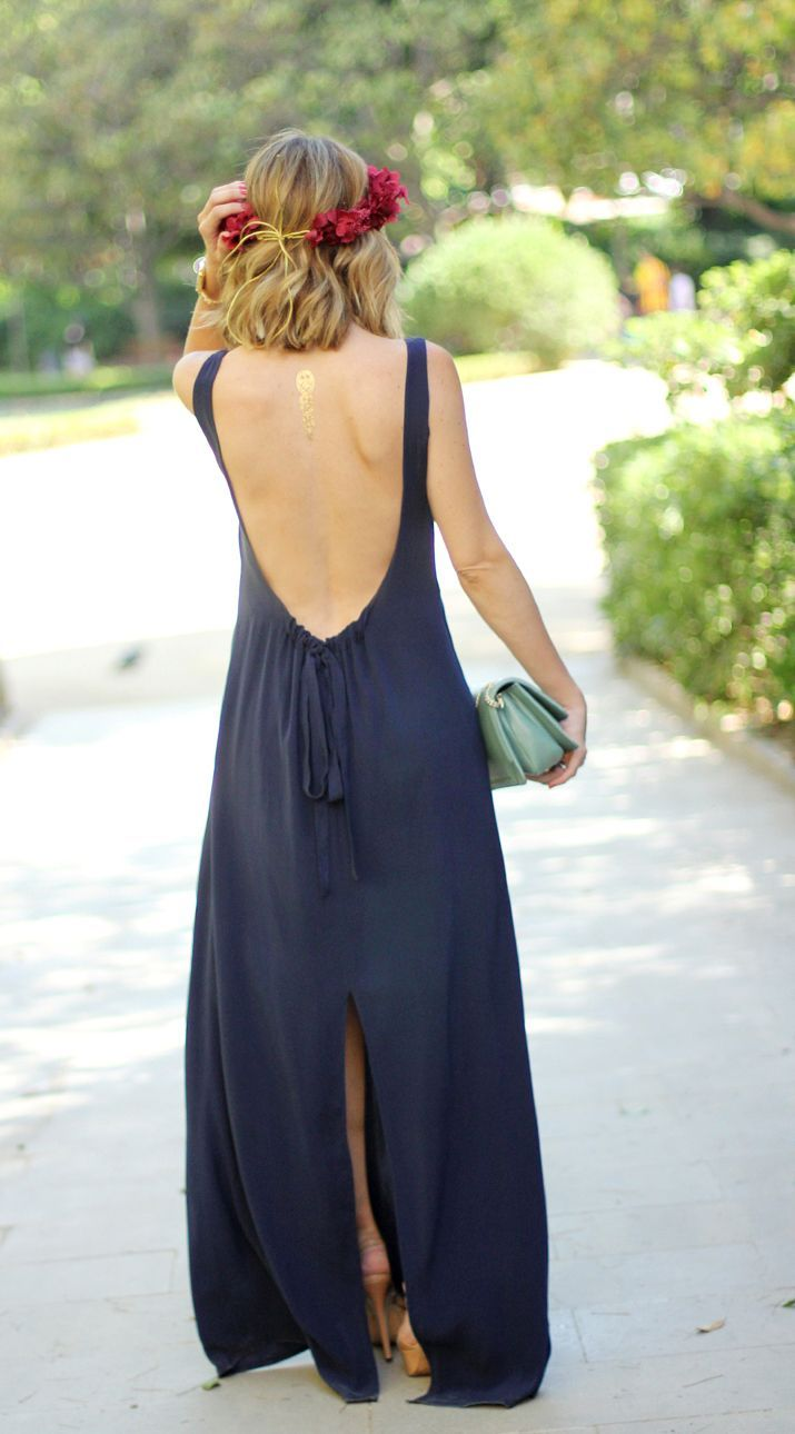 Long navy blue dress with big back open.