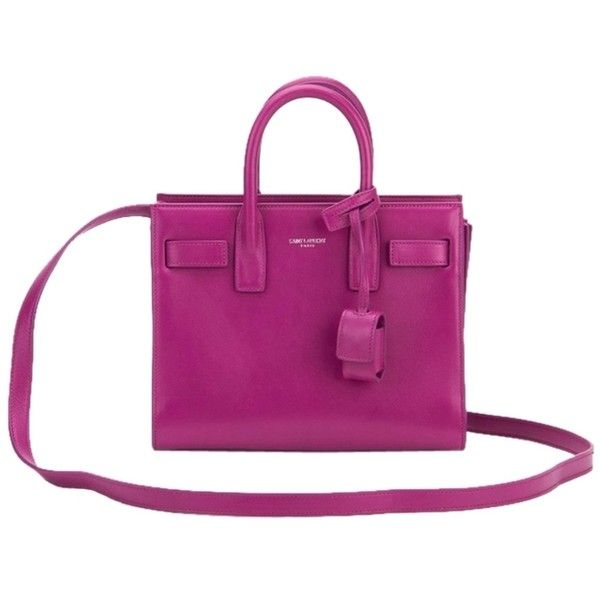 Pre-owned Saint Laurent Nano Sac De Jour Leather Fuschia Tote Bag (41.185 CZK) ❤ liked on Polyvore featuring bags, handbags, tote bags, fuschia, purple purse, purple leather tote bag, purple tote, leather purses and genuine leather tote bags