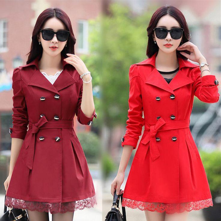 Women Trench Coat 2016 Plus Size Lace Thin Double-breasted Coat Women Winter Outerwear Clothing 5 Colors C209