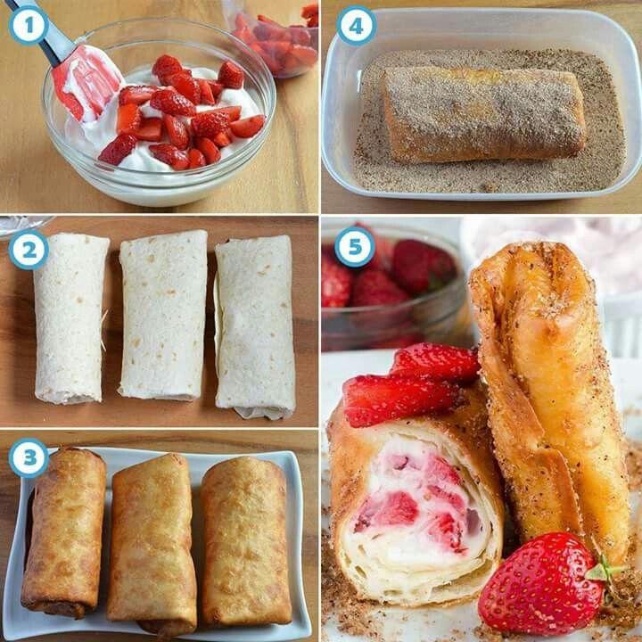 Strawberry cheesecake chimi - http://omgchocolatedesserts.com/strawberry-cheesecake-chimichangas/