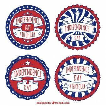 Watercolor rounded independence day badges