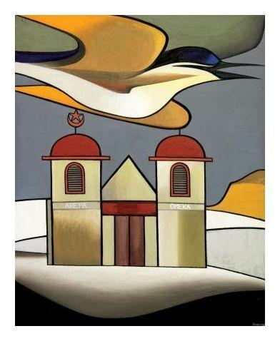 Kotare Over Ratana Church, Te Kao by Don Binney