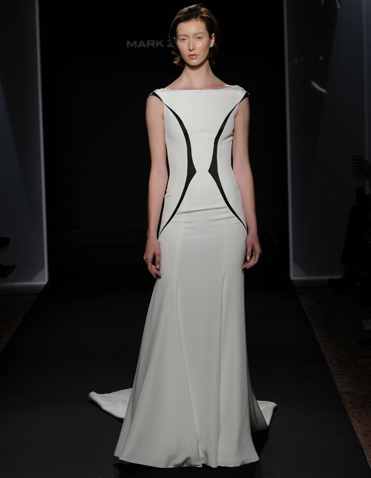 Mark Zunino Fall 2016 stretch crepe backless wedding dress with black insets | https://www.theknot.com/content/mark-zunino-wedding-dresses-bridal-fashion-week-fall-2016