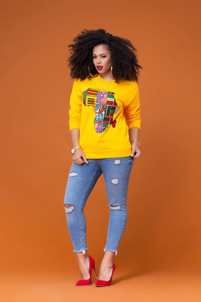 PRE ORDER Yellow African Map Sweatshirt ( Shipping from 2nd of