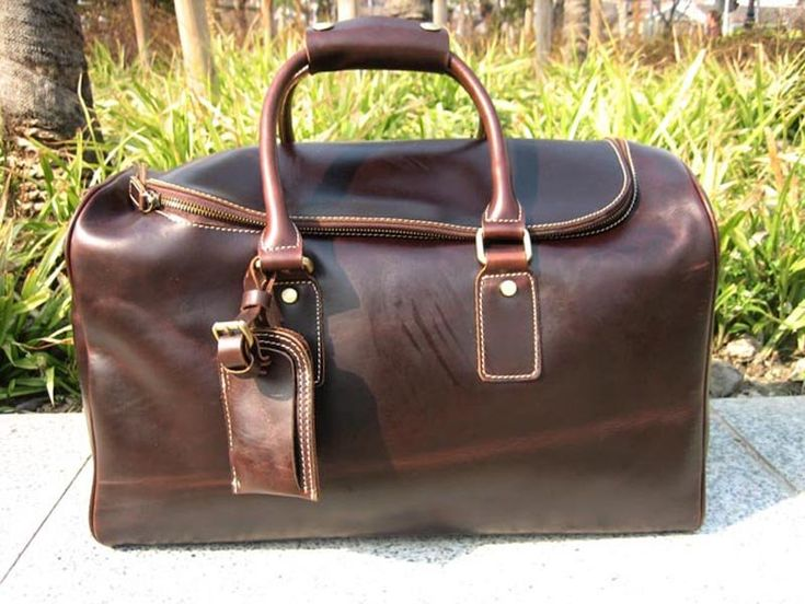 New men's women's Vintage Real Leather travel bag LUGGAGE WEEKEND ...