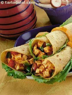 Paneer Tikka Katti Rolls recipe | Paneer Recipes | by Tarla Dalal | Tarladalal.com | #4774