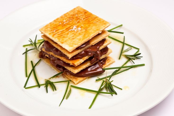This wild mushroom and chocolate mille feuille shows off chocolate at its savoury best, making a rich, earthy dish, perfect for surprising friends and family