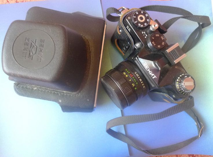 Vintage USSR Soviet ZENIT 11 35mm SLR CAMERA LENS HELIOS 44M-4 2/58 Case leather #Zenit