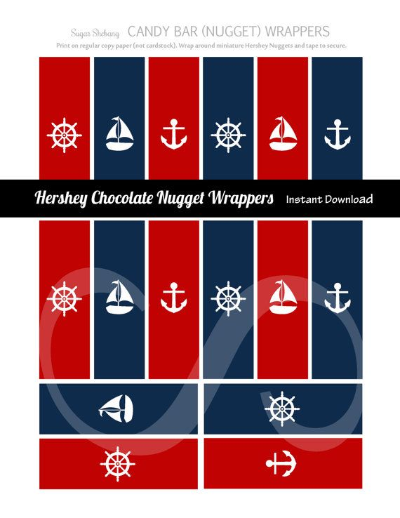 Nautical Candy Bar Wrappers  Fits Hershey's by SugarShebang