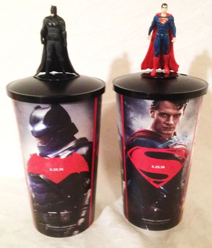 Batman vs Superman Movie Theater Exclusive Cup Topper Set with 44 oz Cups #1  | eBay