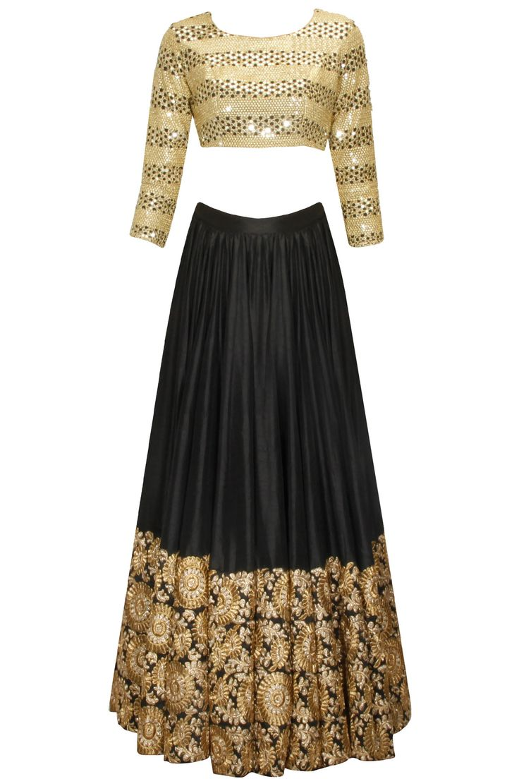 Black mithu and sequins embroidered lehenga set availaible only at Pernia's Pop Up Shop.